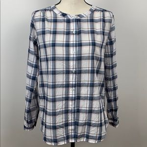 LOFT Plaid Sheer Button Front Blouse Size XS